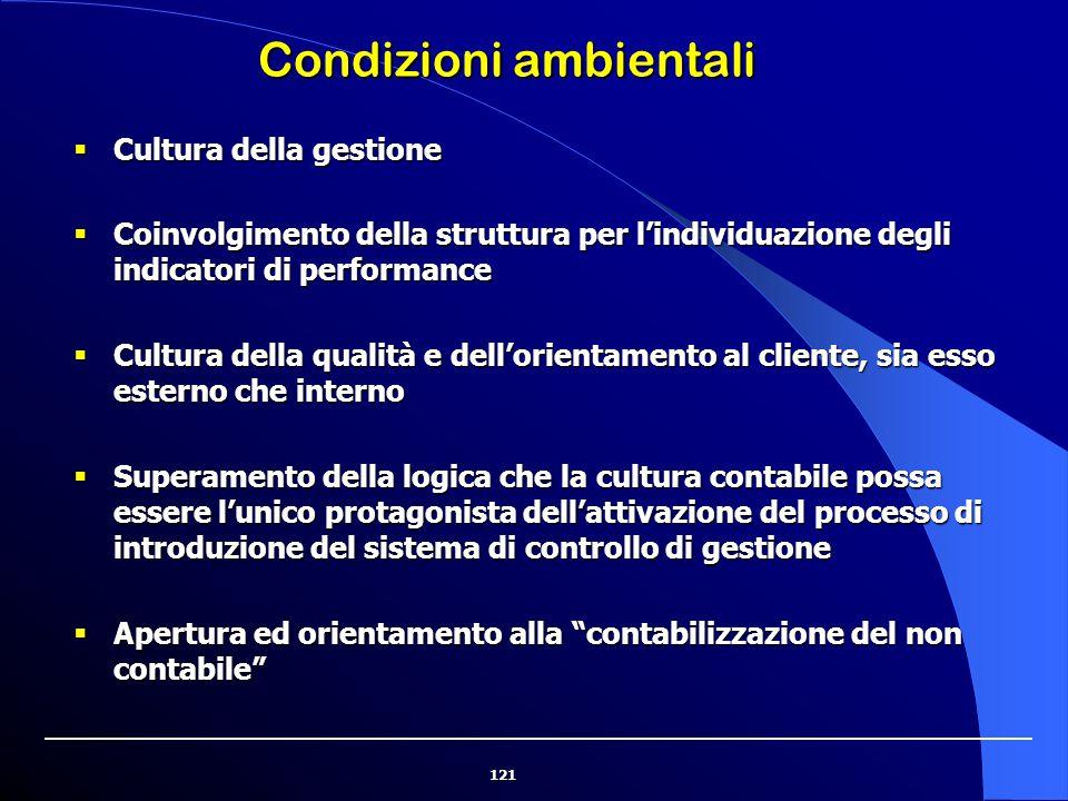 121 Condizioni ambientali  Cultura della gestione  Coinvolgimento della struttura per l'individuazione degli indicatori di performance  Cultura del