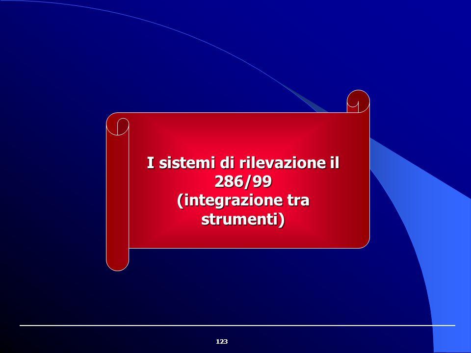 123 I sistemi di rilevazione il 286/99 (integrazione tra strumenti)