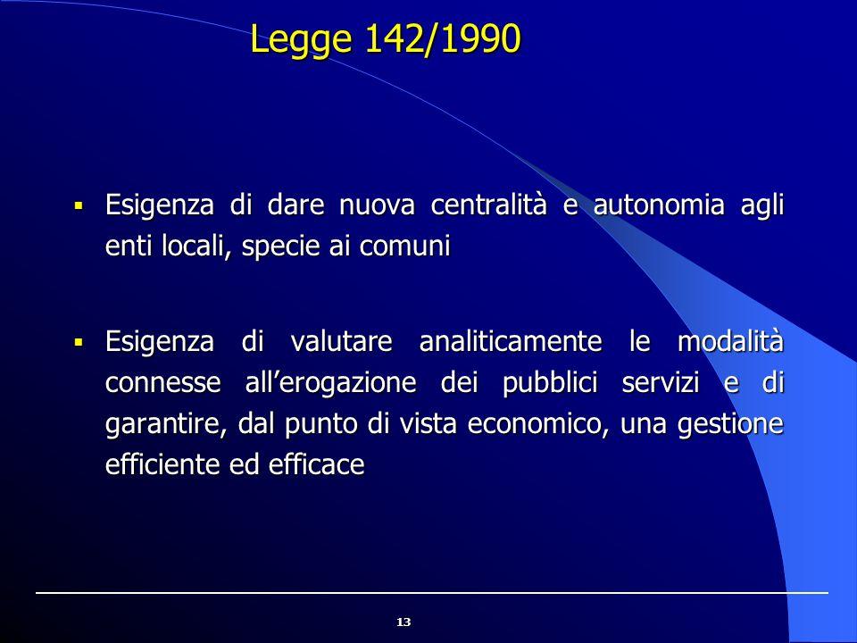 13 Legge 142/1990  Esigenza di dare nuova centralità e autonomia agli enti locali, specie ai comuni  Esigenza di valutare analiticamente le modalità