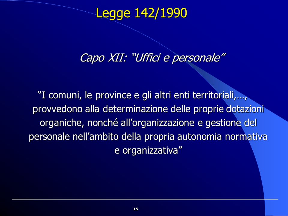 """15 Legge 142/1990 """"I comuni, le province e gli altri enti territoriali,…, provvedono alla determinazione delle proprie dotazioni organiche, nonché all"""
