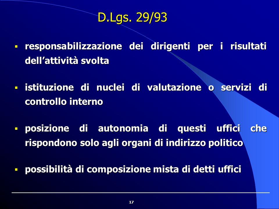 17 D.Lgs. 29/93  responsabilizzazione dei dirigenti per i risultati dell'attività svolta  istituzione di nuclei di valutazione o servizi di controll
