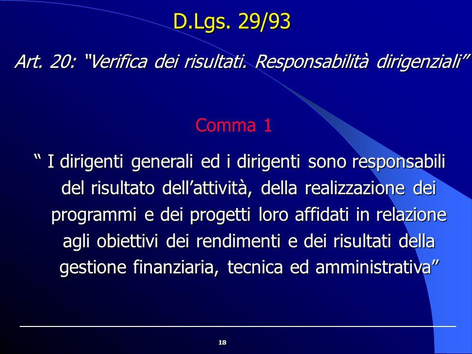 """18 D.Lgs. 29/93 """" I dirigenti generali ed i dirigenti sono responsabili del risultato dell'attività, della realizzazione dei programmi e dei progetti"""