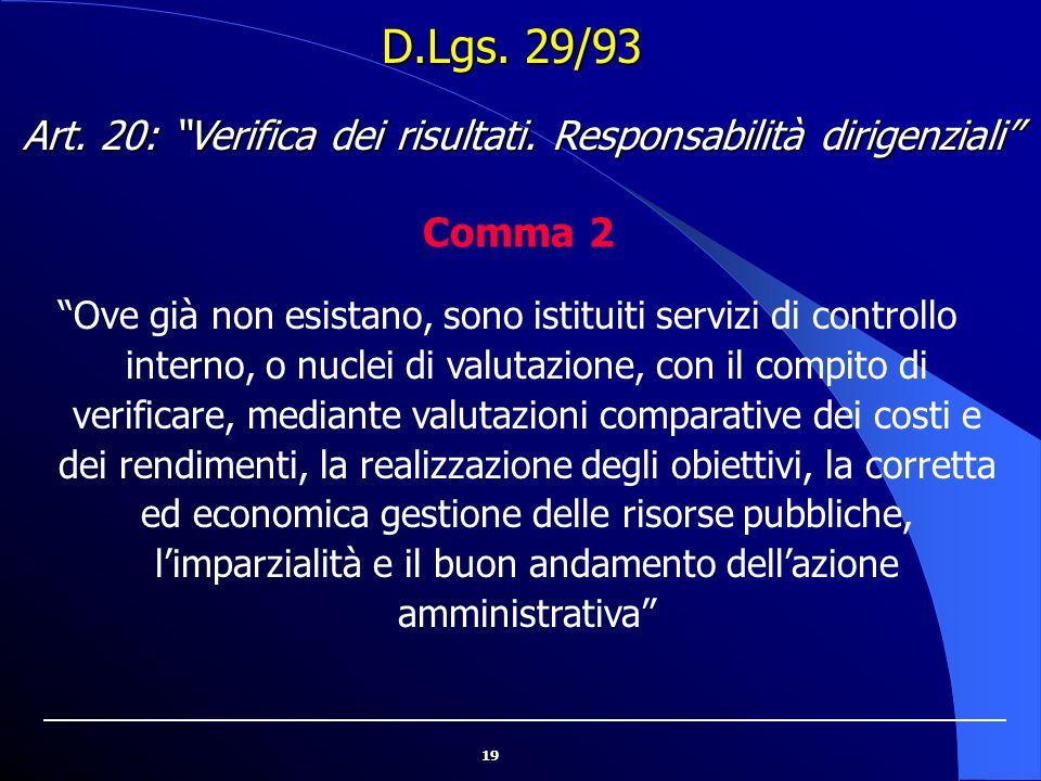 """19 D.Lgs. 29/93 """"Ove già non esistano, sono istituiti servizi di controllo interno, o nuclei di valutazione, con il compito di verificare, mediante va"""