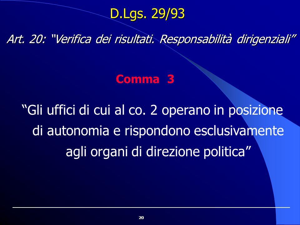 """20 D.Lgs. 29/93 """"Gli uffici di cui al co. 2 operano in posizione di autonomia e rispondono esclusivamente agli organi di direzione politica"""" Art. 20:"""