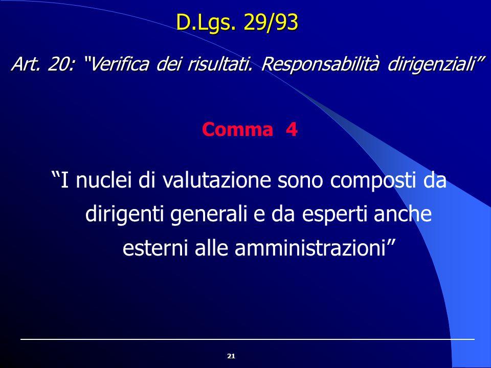 """21 D.Lgs. 29/93 """"I nuclei di valutazione sono composti da dirigenti generali e da esperti anche esterni alle amministrazioni"""" Art. 20: """"Verifica dei r"""