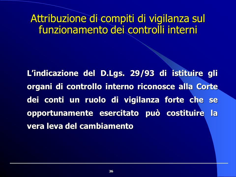26 Attribuzione di compiti di vigilanza sul funzionamento dei controlli interni L'indicazione del D.Lgs. 29/93 di istituire gli organi di controllo in