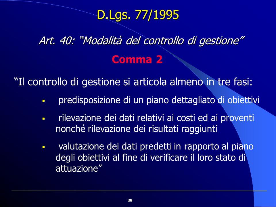 """28 D.Lgs. 77/1995 """"Il controllo di gestione si articola almeno in tre fasi:  predisposizione di un piano dettagliato di obiettivi  rilevazione dei d"""