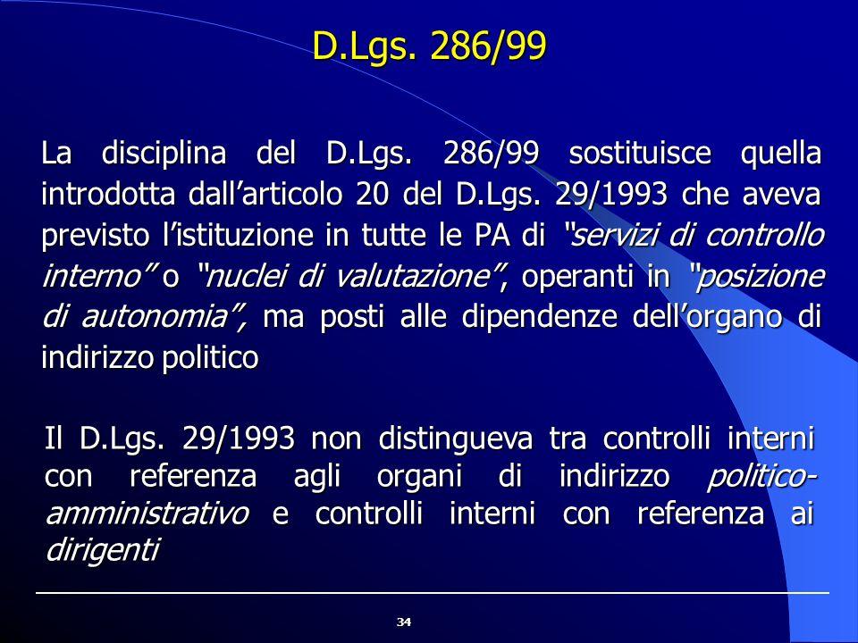 34 D.Lgs. 286/99 La disciplina del D.Lgs. 286/99 sostituisce quella introdotta dall'articolo 20 del D.Lgs. 29/1993 che aveva previsto l'istituzione in