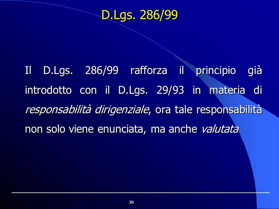 35 D.Lgs. 286/99 Il D.Lgs. 286/99 rafforza il principio già introdotto con il D.Lgs. 29/93 in materia di responsabilità dirigenziale, ora tale respons