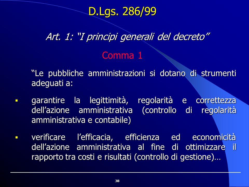 """38 """"Le pubbliche amministrazioni si dotano di strumenti adeguati a:  garantire la legittimità, regolarità e correttezza dell'azione amministrativa (c"""