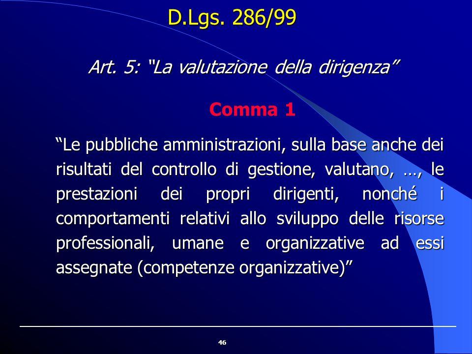"""46 """"Le pubbliche amministrazioni, sulla base anche dei risultati del controllo di gestione, valutano, …, le prestazioni dei propri dirigenti, nonché i"""