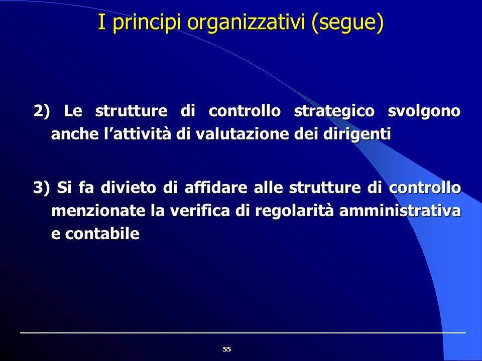 55 I principi organizzativi (segue) 2) Le strutture di controllo strategico svolgono anche l'attività di valutazione dei dirigenti 3) Si fa divieto di