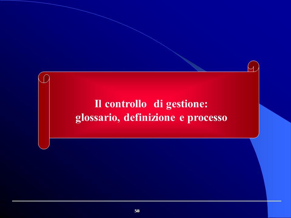 58 Il controllo di gestione: glossario, definizione e processo