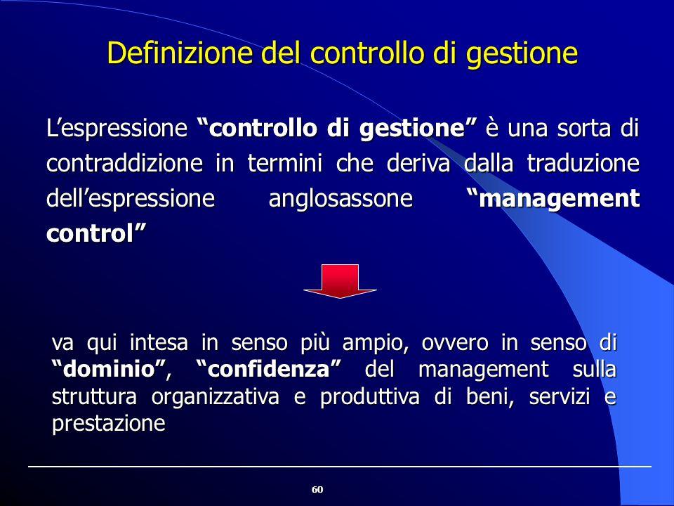 """60 Definizione del controllo di gestione L'espressione """"controllo di gestione"""" è una sorta di contraddizione in termini che deriva dalla traduzione de"""