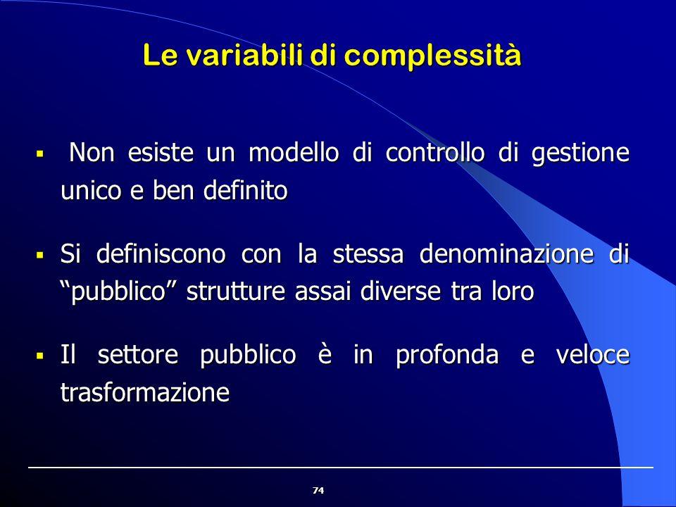"""74 Le variabili di complessità  Non esiste un modello di controllo di gestione unico e ben definito  Si definiscono con la stessa denominazione di """""""