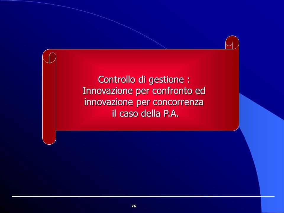 76 Controllo di gestione : Innovazione per confronto ed innovazione per concorrenza il caso della P.A. il caso della P.A.