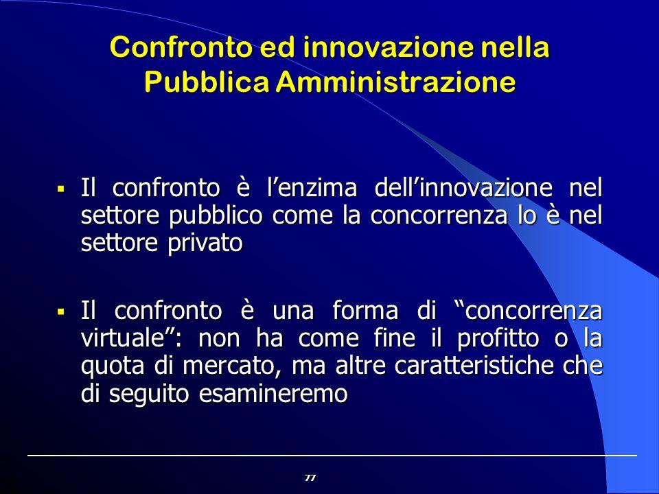 77 Confronto ed innovazione nella Pubblica Amministrazione  Il confronto è l'enzima dell'innovazione nel settore pubblico come la concorrenza lo è ne