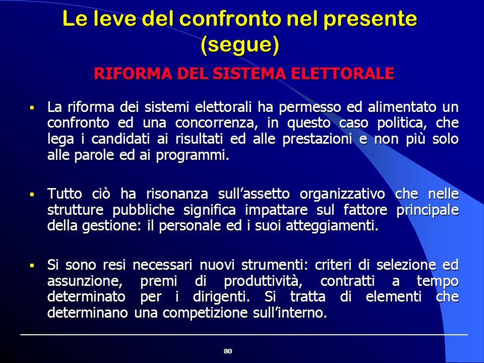 80 Le leve del confronto nel presente (segue)  La riforma dei sistemi elettorali ha permesso ed alimentato un confronto ed una concorrenza, in questo
