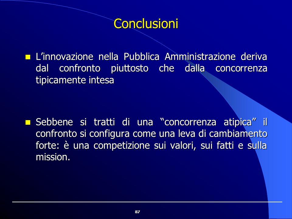 87 Conclusioni L'innovazione nella Pubblica Amministrazione deriva dal confronto piuttosto che dalla concorrenza tipicamente intesa L'innovazione nell