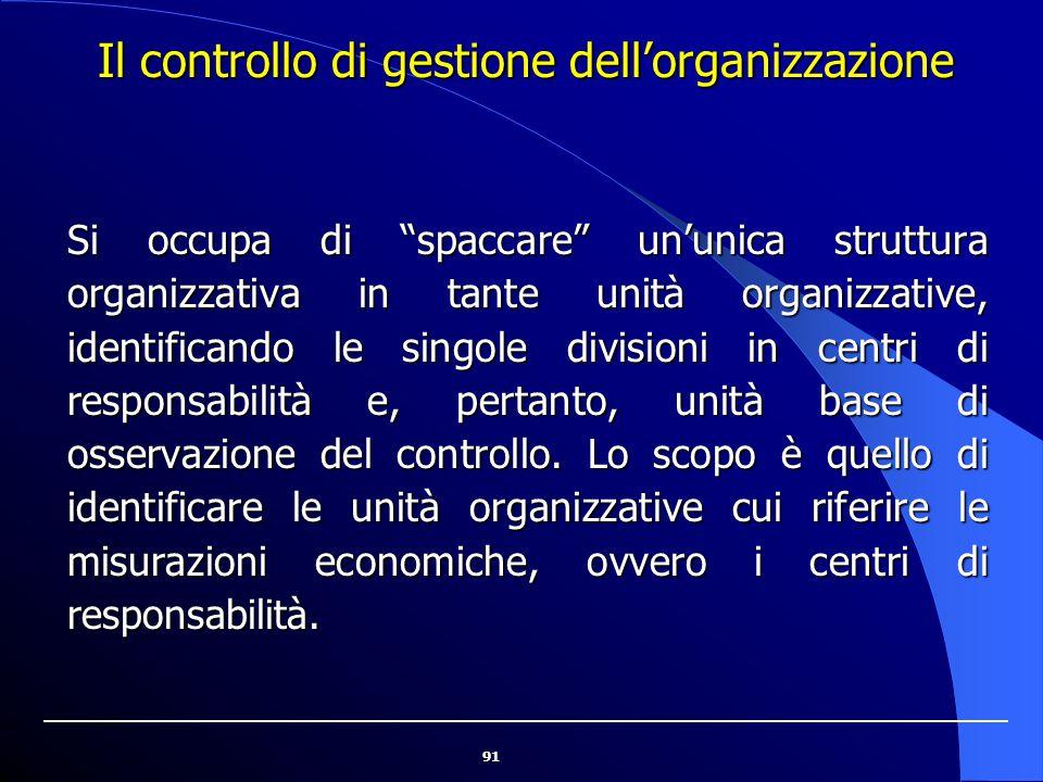 """91 Il controllo di gestione dell'organizzazione Si occupa di """"spaccare"""" un'unica struttura organizzativa in tante unità organizzative, identificando l"""