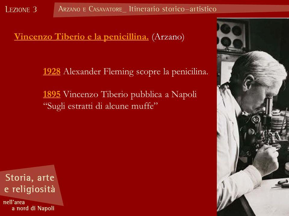 """Vincenzo Tiberio e la penicillina. (Arzano) 1928 Alexander Fleming scopre la penicilina. 1895 Vincenzo Tiberio pubblica a Napoli """"Sugli estratti di al"""