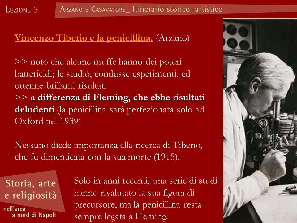 Vincenzo Tiberio e la penicillina. (Arzano) >> notò che alcune muffe hanno dei poteri battericidi; le studiò, condusse esperimenti, ed ottenne brillan
