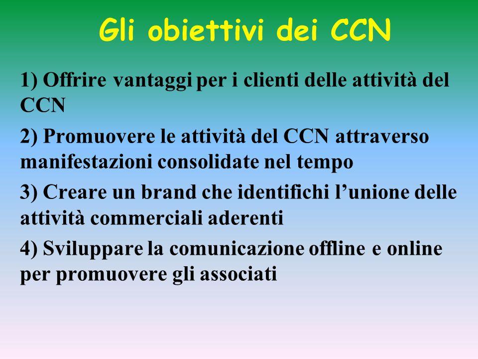 Gli obiettivi dei CCN 1) Offrire vantaggi per i clienti delle attività del CCN 2) Promuovere le attività del CCN attraverso manifestazioni consolidate nel tempo 3) Creare un brand che identifichi l'unione delle attività commerciali aderenti 4) Sviluppare la comunicazione offline e online per promuovere gli associati