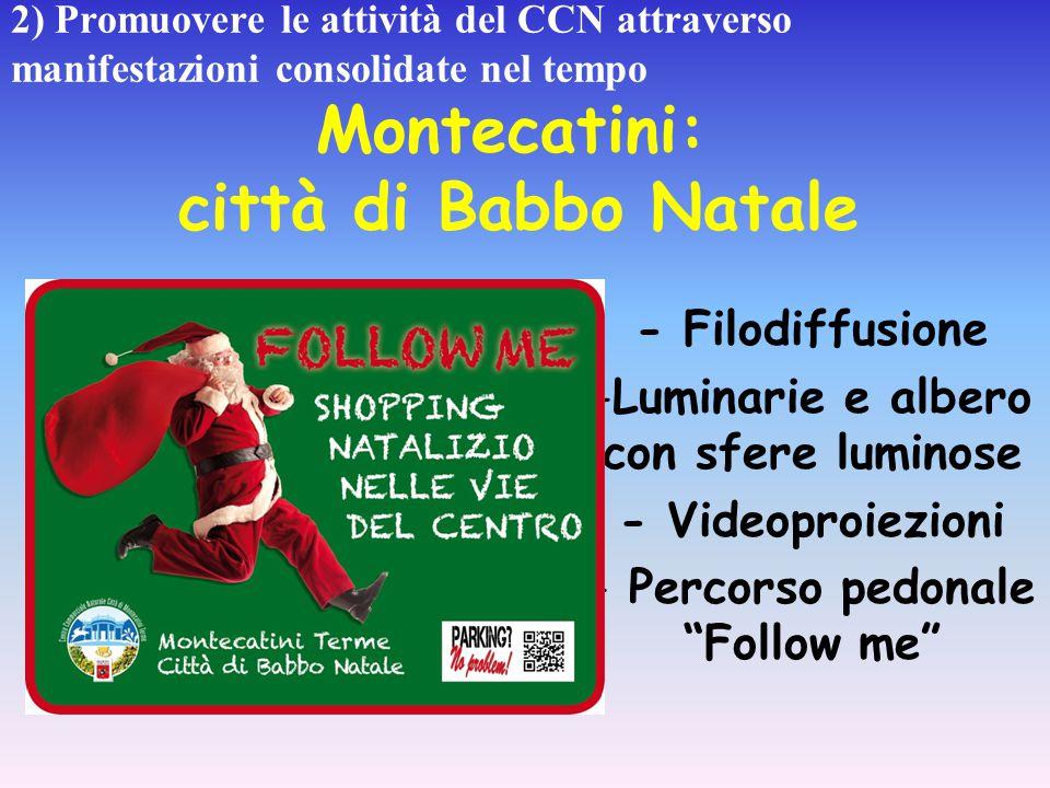 2) Promuovere le attività del CCN attraverso manifestazioni consolidate nel tempo Montecatini: città di Babbo Natale - Filodiffusione -Luminarie e alb