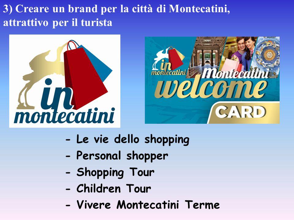 3) Creare un brand per la città di Montecatini, attrattivo per il turista - Le vie dello shopping - Personal shopper - Shopping Tour - Children Tour -