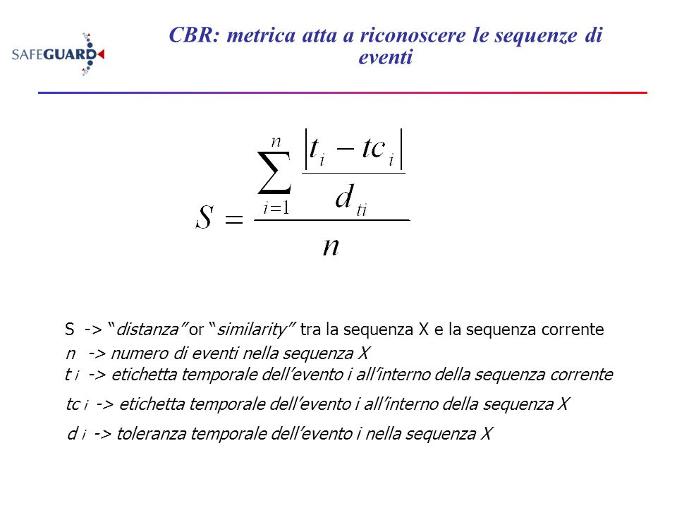 CBR: metrica atta a riconoscere le sequenze di eventi S -> distanza or similarity tra la sequenza X e la sequenza corrente t i -> etichetta temporale dell'evento i all'interno della sequenza corrente tc i -> etichetta temporale dell'evento i all'interno della sequenza X d i -> toleranza temporale dell'evento i nella sequenza X n -> numero di eventi nella sequenza X