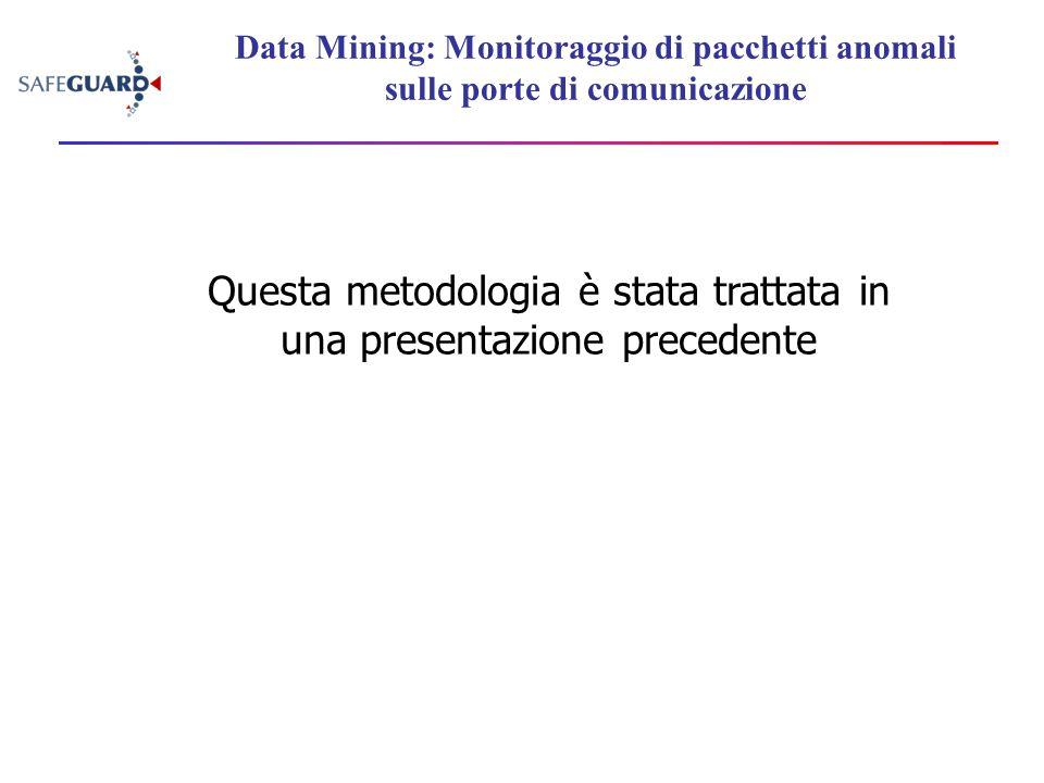 Data Mining: Monitoraggio di pacchetti anomali sulle porte di comunicazione Questa metodologia è stata trattata in una presentazione precedente