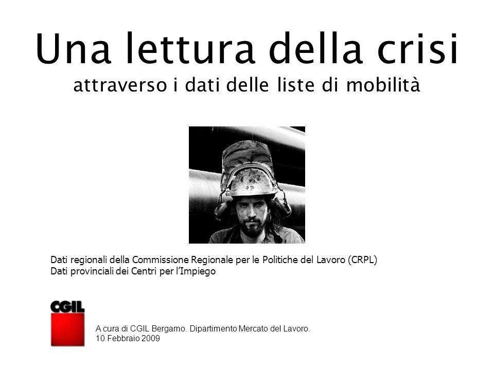 Una lettura della crisi attraverso i dati delle liste di mobilità Dati regionali della Commissione Regionale per le Politiche del Lavoro (CRPL) Dati provinciali dei Centri per l'Impiego A cura di CGIL Bergamo.