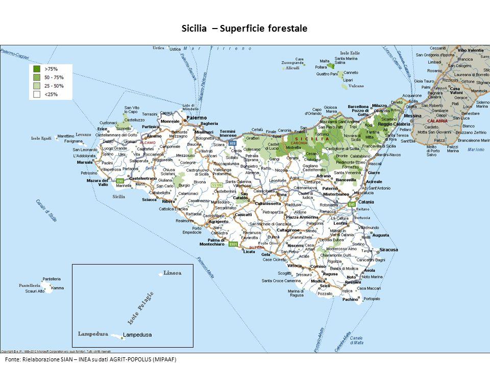 Sicilia – Superficie forestale Fonte: Rielaborazione SIAN – INEA su dati AGRIT-POPOLUS (MIPAAF)