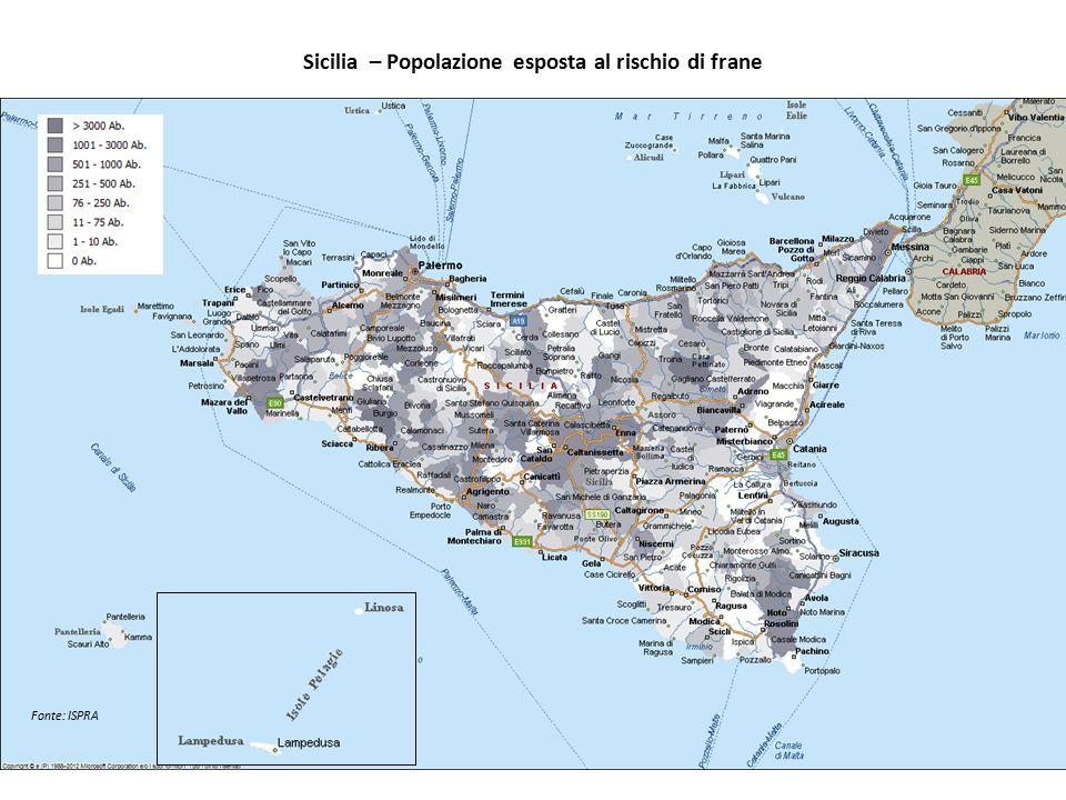 Sicilia – Popolazione esposta al rischio di frane Fonte: ISPRA