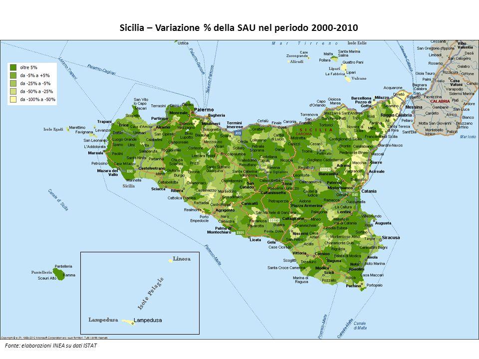 Sicilia – Variazione % della SAU nel periodo 2000-2010 Fonte: elaborazioni INEA su dati ISTAT