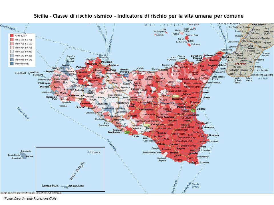 Sicilia - Classe di rischio sismico - Indicatore di rischio per la vita umana per comune (Fonte: Dipartimento Protezione Civile)