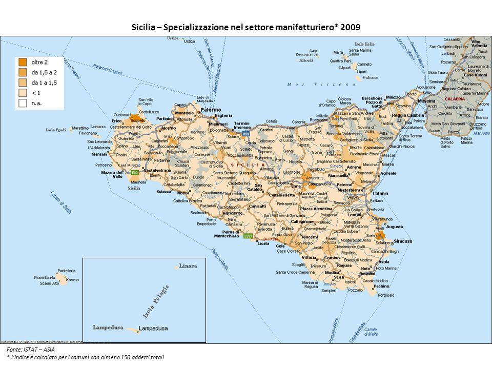 Sicilia – Specializzazione nel settore manifatturiero* 2009 Fonte: ISTAT – ASIA * l'indice è calcolato per i comuni con almeno 150 addetti totali