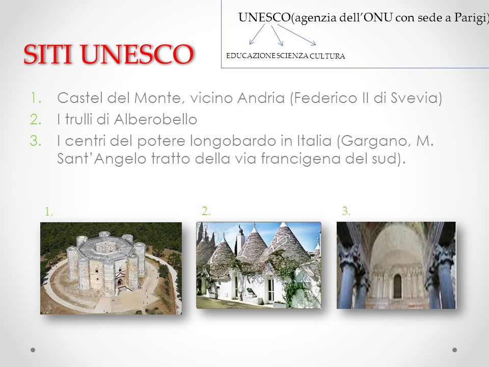 SITI UNESCO 1.Castel del Monte, vicino Andria (Federico II di Svevia) 2.I trulli di Alberobello 3.I centri del potere longobardo in Italia (Gargano, M