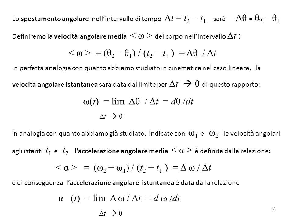 Lo spostamento angolare nell'intervallo di tempo Δt = t 2 − t 1 sarà Δθ = θ 2 − θ 1 Definiremo la velocità angolare media del corpo nell'intervallo Δt