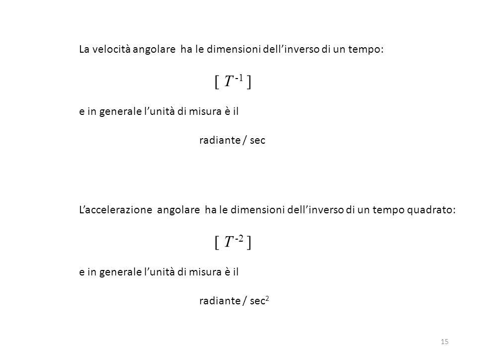 La velocità angolare ha le dimensioni dell'inverso di un tempo: [ T -1 ] e in generale l'unità di misura è il radiante / sec 15 L'accelerazione angola