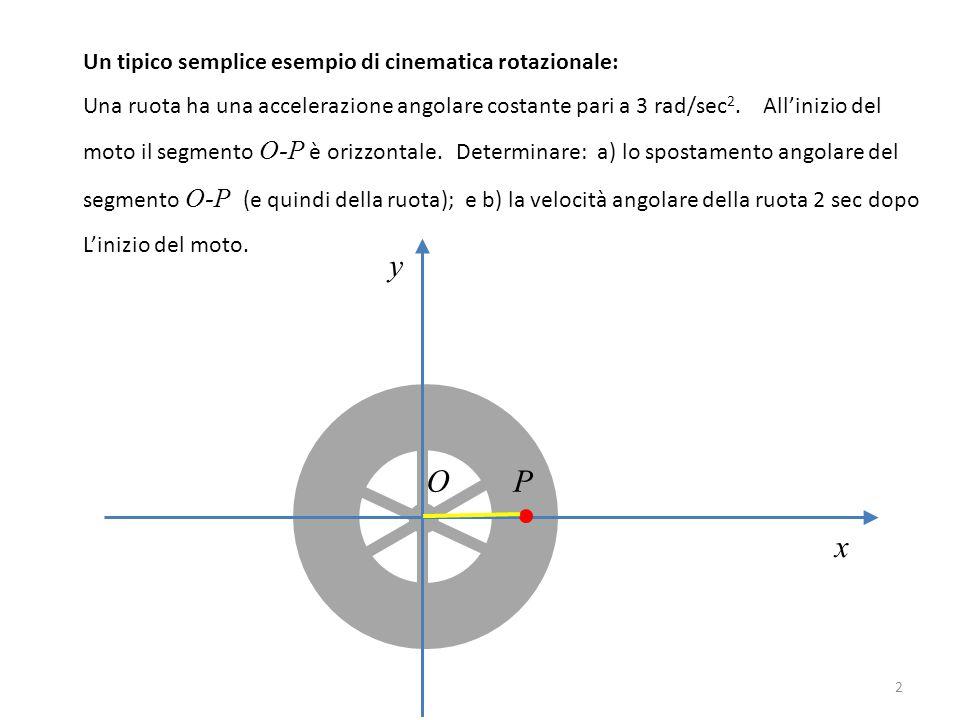 2 y x O P Un tipico semplice esempio di cinematica rotazionale: Una ruota ha una accelerazione angolare costante pari a 3 rad/sec 2. All'inizio del mo