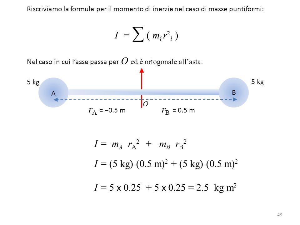 43 Riscriviamo la formula per il momento di inerzia nel caso di masse puntiformi: I = ∑ ( m i r 2 i ) Nel caso in cui l'asse passa per O ed è ortogona