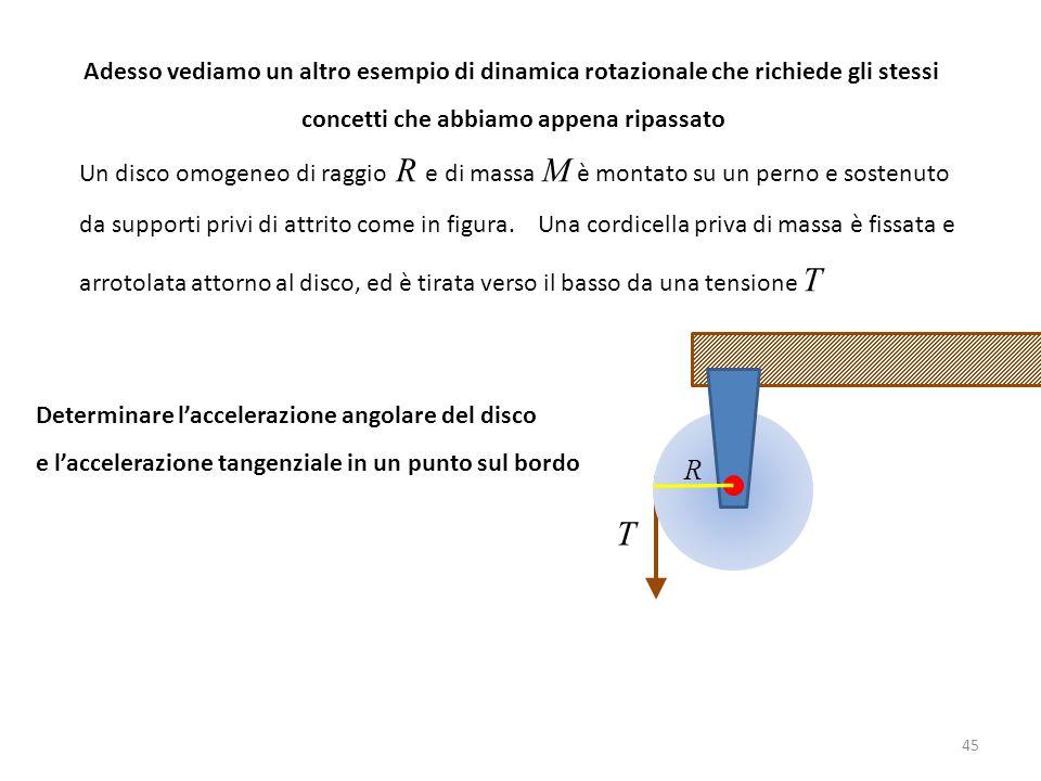 45 Adesso vediamo un altro esempio di dinamica rotazionale che richiede gli stessi concetti che abbiamo appena ripassato Un disco omogeneo di raggio R