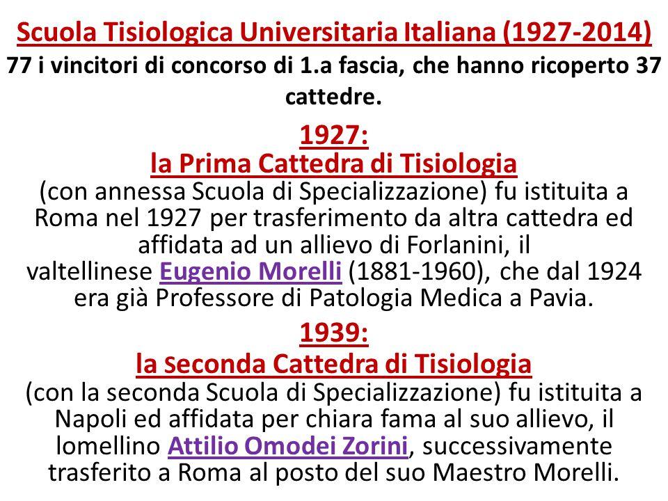 Scuola Tisiologica Universitaria Italiana (1927-2014) 77 i vincitori di concorso di 1.a fascia, che hanno ricoperto 37 cattedre. 1927: la Prima Catted