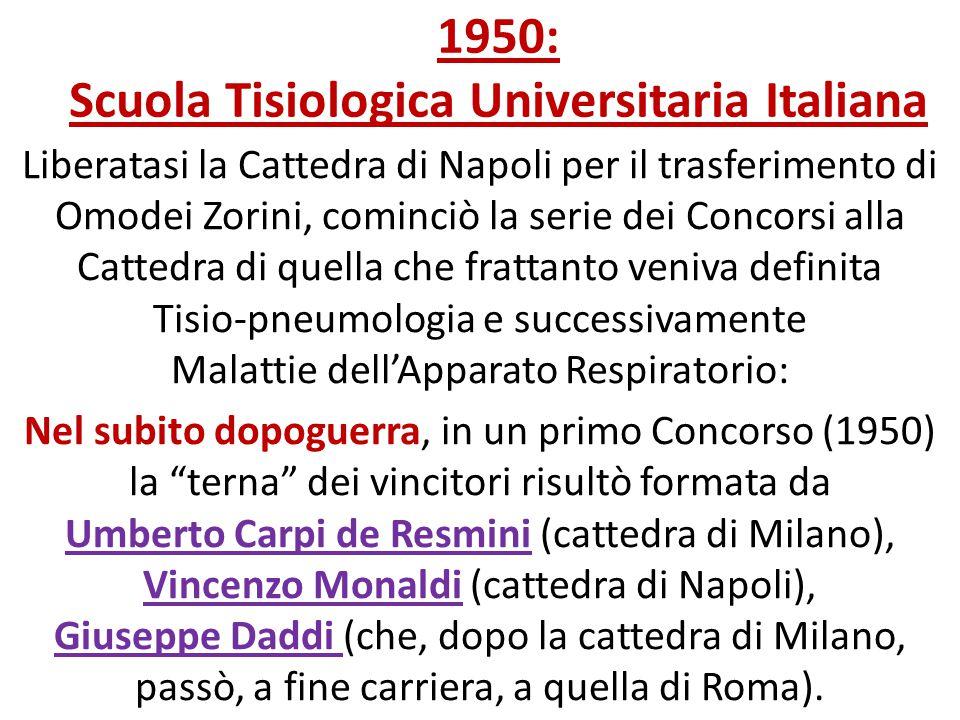 1950: Scuola Tisiologica Universitaria Italiana Liberatasi la Cattedra di Napoli per il trasferimento di Omodei Zorini, cominciò la serie dei Concorsi