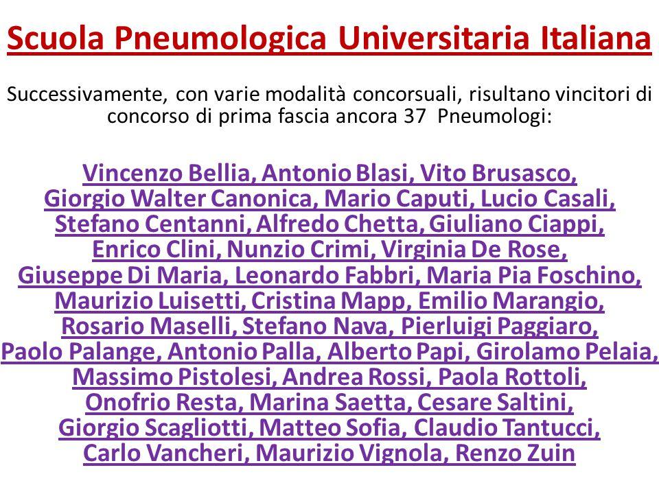 Scuola Pneumologica Universitaria Italiana Successivamente, con varie modalità concorsuali, risultano vincitori di concorso di prima fascia ancora 37