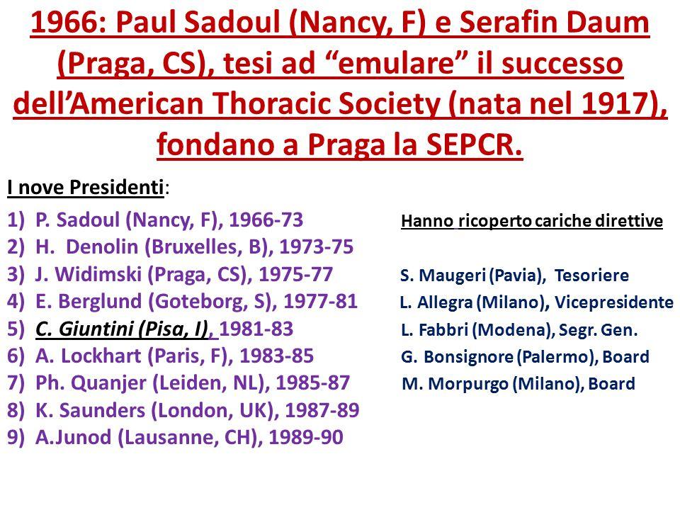 """1966: Paul Sadoul (Nancy, F) e Serafin Daum (Praga, CS), tesi ad """"emulare"""" il successo dell'American Thoracic Society (nata nel 1917), fondano a Praga"""