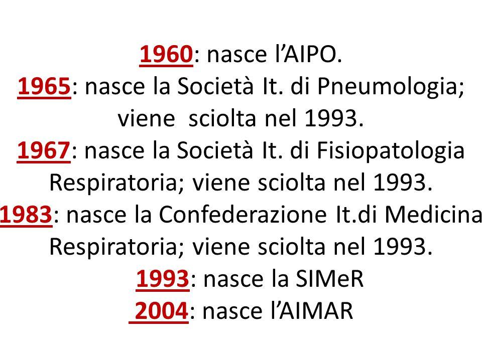 1960: nasce l'AIPO. 1965: nasce la Società It. di Pneumologia; viene sciolta nel 1993. 1967: nasce la Società It. di Fisiopatologia Respiratoria; vien