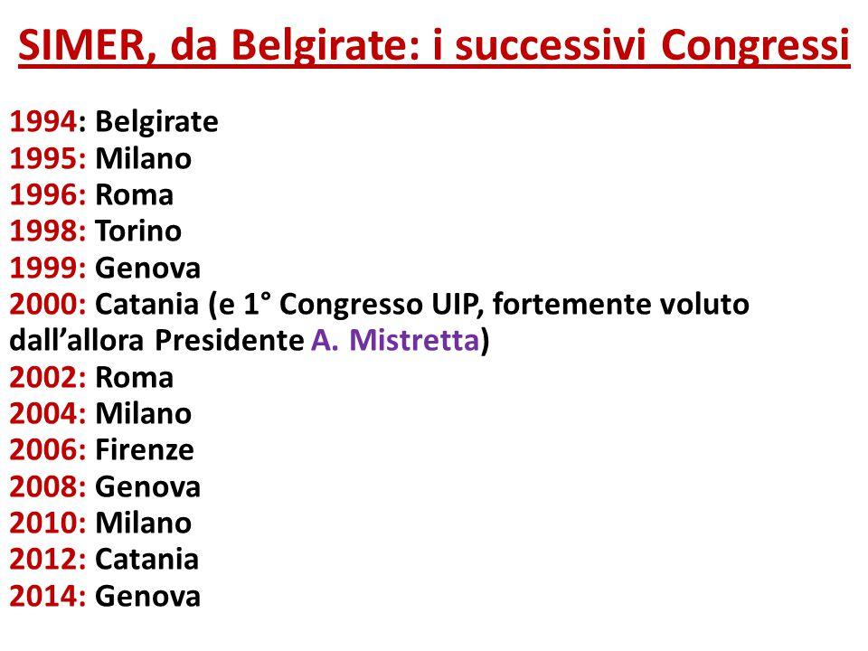 SIMER, da Belgirate: i successivi Congressi 1994: Belgirate 1995: Milano 1996: Roma 1998: Torino 1999: Genova 2000: Catania (e 1° Congresso UIP, forte