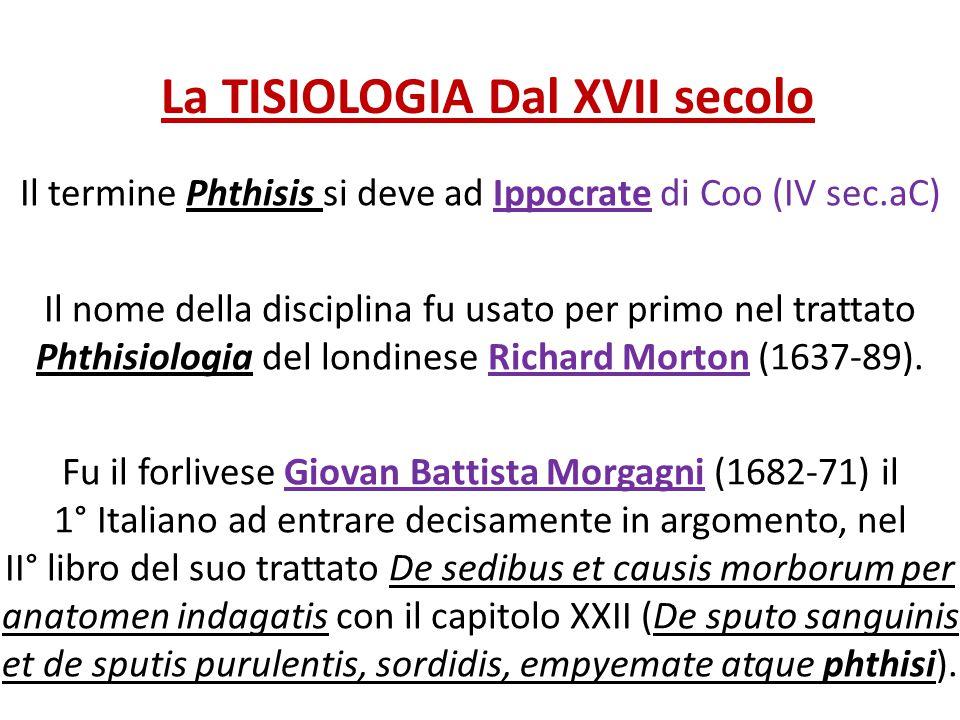 La TISIOLOGIA Dal XVII secolo Il termine Phthisis si deve ad Ippocrate di Coo (IV sec.aC) Il nome della disciplina fu usato per primo nel trattato Pht